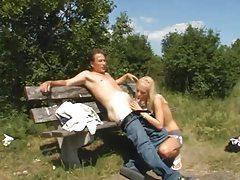 He fucks a slut in a grassy field tubes