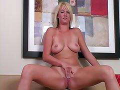 Blonde with shaved pussy masturbates tubes