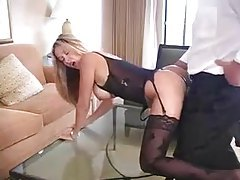 Lingerie and stockings on hot wife in hotel room tubes