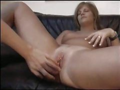 Chick sucks him and he fucks her shaved pussy tubes