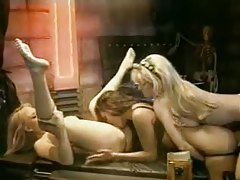 Blonde lesbian threesome including oil tubes
