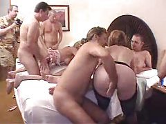 Wild orgy with two sluts and lots of guys tubes