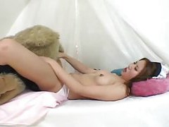Japanese girl humping teddy bear and toys tubes