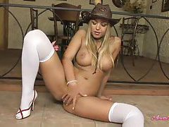 Anette Dawn strips from cute cowgirl dress tubes