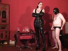 Tall chick in latex dominates her man tube