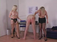 Two ladies humiliate and spank him tubes