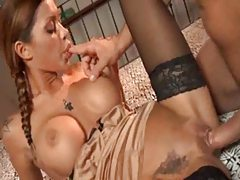 Ultra hot pigtailed Italian chick nailed tubes