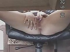 She plays with pussy under desk tubes