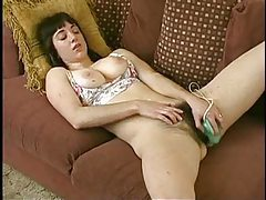 The hairiest girl ever uses a toy in her cunt tubes