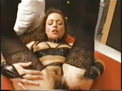 Amateur in fetish lingerie and stockings tubes