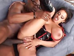 Slut in latex takes a big black cock tubes