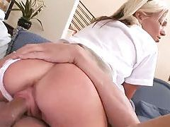 Blonde schoolgirl eaten out and fucked tubes