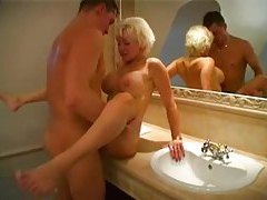 Busty blonde mature fucked in her bathroom tubes