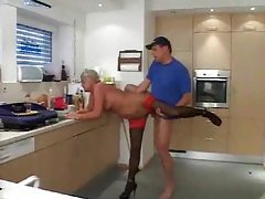 Cleaning lady with shaved pussy taken tubes