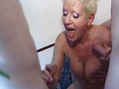 Old slut riding cock in a gangbang tube