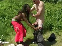 Black chick banged in the ass outdoors tubes