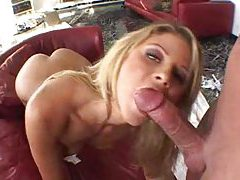 Fabulous blonde strips and performs a BJ tubes