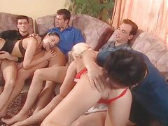 Orgy scene with fucking and hot creampie eating tubes