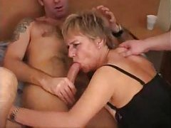 Mature chick enjoys three younger dicks tubes