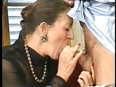 Granny sucks cock and gets it in the rear tubes