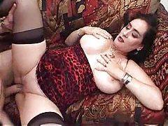 Big natural tit slut enjoys fucking hard tubes
