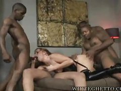 Black guys lined up to fuck this curvy slut tubes