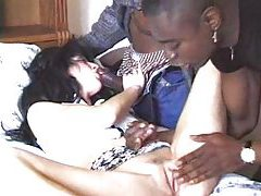 Two black dicks invade her ass at once tubes