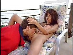 Lifeguard with big tits fucked at the beach tubes