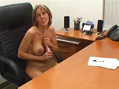 Secretary at desk gives POV handjob tubes