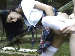 Big tits German schoolgirl having sex outdoors tubes