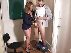 Tight police uniform as she jerks him off tubes
