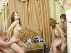 Drunken family has a hot foursome tubes