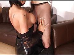 Man in pantyhose gets pleasure from latex hottie tubes