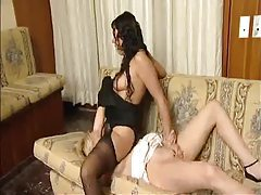 Blonde and brunette lesbians have sex tubes