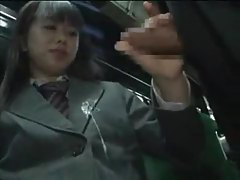 Schoolgirl gives handjob on a bus tubes