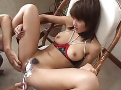 Girl in kinky lingerie has pussy shaved tubes