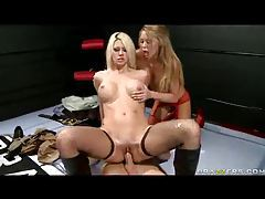 Lusty sluts in stockings fuck hard tubes