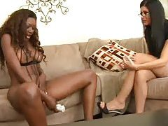 India Summer and black chick have toy sex tubes