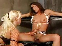 She is spanked by her mistress in dungeon tubes