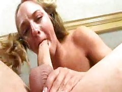 Teen in pigtails gagging on cock meat tubes