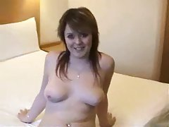 Cutie with nice natural tits gets creampie tubes