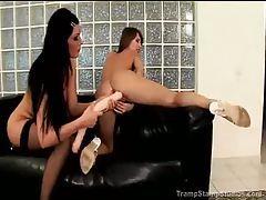 Naked lesbians using dildo for pleasure tubes
