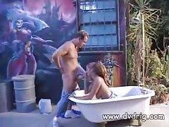 Chick in a bathtub sucking a big cock tubes