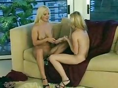 Lesbians share a double dildo to get off tubes