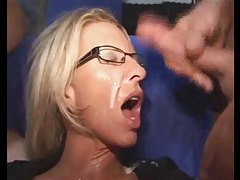 Milf in glasses is soaked in cum tubes