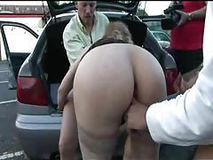 Girl in a public parking lot sucking and fucking tubes