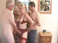 Mature wife and hubby joined by new man tubes