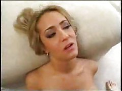 Hot chick takes cum loads on her face tubes