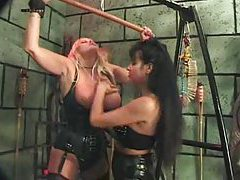 Mistress ties her tasty slut in dungeon tubes