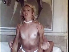 Blonde in pink sweater fucked hard in retro movie tubes